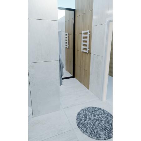 LD-670x400-WGrzejnik łazienkowy Terma Leda. Grzejnik wąski o szerokości 40cm i wysokości 67cm, kolor biały mat, z podłączeniem dolnym o rozstawie 370mm