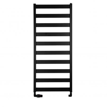 Grzejnik łazienkowy Terma Leda. Grzejnik wąski o szerokości 50cm i wysokości 115cm, kolor czarny, z podłączeniem dolnym o rozstawie 470mm z zestawem zaworów Vario Term Vision w figurze osiowej lewej.