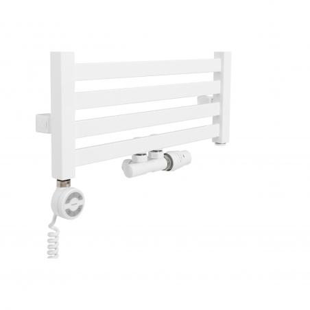 Grzejnik łazienkowy Terma Moon z podłączeniem dolnym środkowym o rozstawie 50mm, w kolorze białym z białym zaworem Twins oraz z grzałką Moa