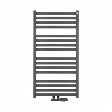 Grzejnik łazienkowy o prostokątnych profilach Terma Moon. Wymiary 96x50cm, kolor antracyt / metallic grey, z podłączeniem dolnym środkowym o rozstawie 50mm. U dołu zamontowany grafitowy zawór zespolony Multiflow, figura kątowa prawa.