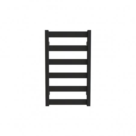 Grzejnik łazienkowy Terma Leda. Grzejnik wąski o szerokości 40cm i wysokości 67cm, kolor czarny mat, z podłączeniem dolnym o rozstawie 370mm