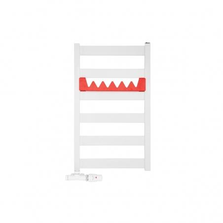 Grzejnik łazienkowy Leda o wymiarach 67x40cm w kolorze białym matowym z podłączeniem dolnym o rozstawie 37cm z białym przyłączem jednootworowym Unico firmy Vario term, figura kątowa prawa oraz z czerwonym relingiem Happy Shark