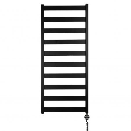 Grzejnik łazienkowy elektryczny Terma Leda o wymiarach 115x50cm w kolorze czarnym matowym. Z prawej strony zamontowana czarna grzałḱa elektryczna Moa o mocy 400W