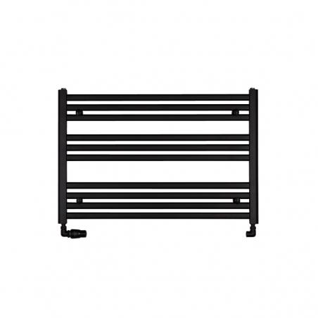 Grzejnik łazienkowy poziomy Intention o wymiarach 60x90cm w kolorze czarnym z zamontowanym zestawem zaworów termostatycznych Vario Term Vision czarnych w figurze osiowej lewej.