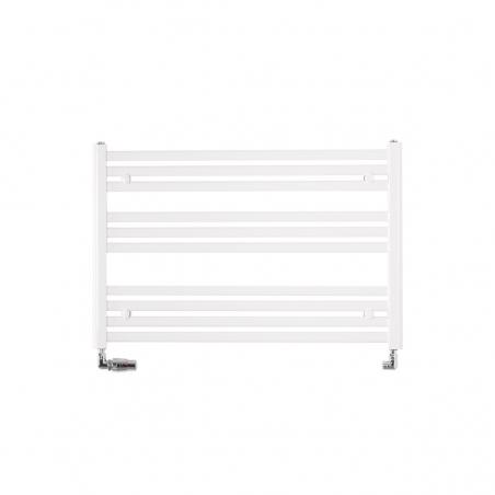 Grzejnik łazienkowy poziomy Intention o wymiarach 60x90cm w kolorze białym z zamontowanym zestawem zaworów termostatycznych Vario Term Vision chromowanych w figurze osiowej lewej.