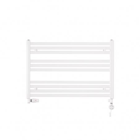 Grzejnik łazienkowy poziomy Intention o wymiarach 60x90cm w kolorze białym z zamontowanym zestawem zaworów termostatycznych Vario Term Integra białych w figurze osiowej lewej. Z prawej strony dodatkowo grzałka elektryczna Terma Moa biała o mocy 400W.