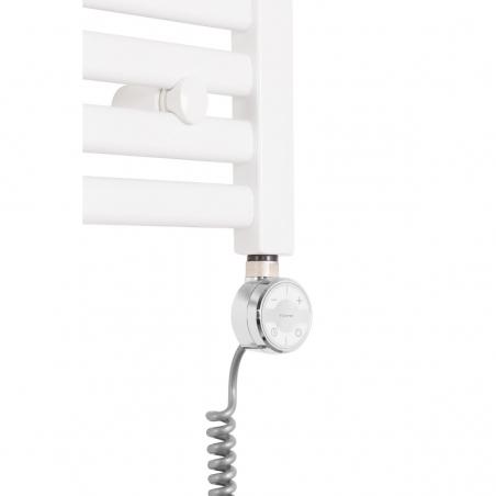 Grzałka Terma Moa chromowana o mocy 400W zamontowana na grzejniku łazienkowym poziomym Intention w kolorze białym