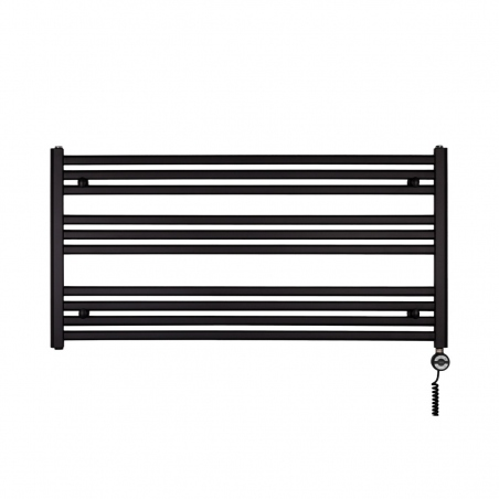 Grzejnik łazienkowy poziomy Intention o wymiarach 60x120cm w kolorze czarnym z zamontowaną z prawej strony grzałką Terma Moa czarną o mocy 600W