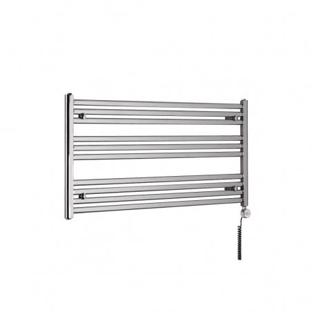 Chromowany grzejnik łazienkowy poziomy Intention o wymiarach 60x120cm. Z prawej strony zamontowana grzałka elektryczna Terma Moa chrom o mocy 300W.