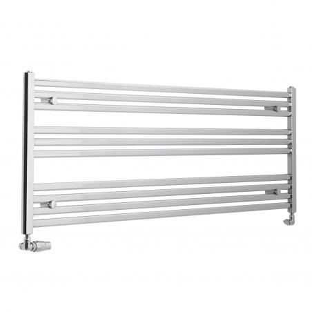 Chromowany grzejnik łazienkowy poziomy Intention o wymiarach 60x150cm z zamontowanym zestawem zaworów termostatycznych Vario Term Vision chrom w figurze osiowej lewej.