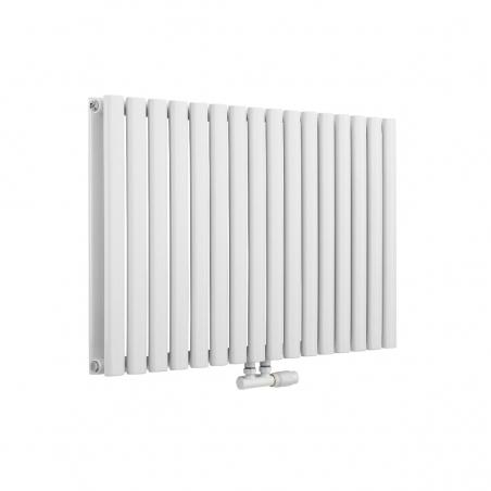 Grzejnik dekoracyjny Ultimate 2, rozmiar 60x96 w kolorze białym, z zaworem zespolonym Multiflow w figurze kątowej prawej, koloru białego.