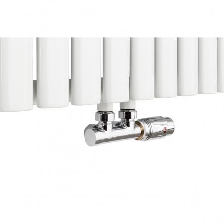 Zawór termostatyczny Multiflow w figurze kątowej prawej kolor chrom, dopasowany do grzejnika dekoracyjnego poziomego Ultimate 2, w rozmiarze 60x96 koloru białego.