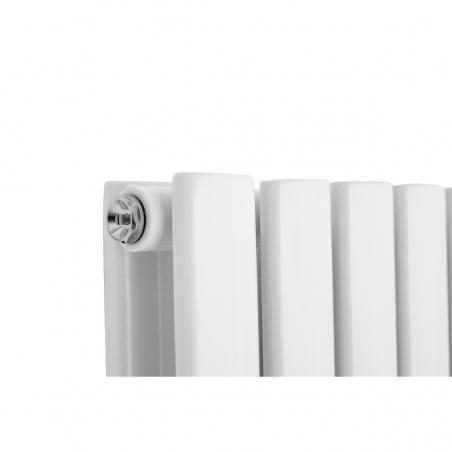 Detal grzejnika dekoracyjnego poziomego Ultimate podwójnego, 60x120 kolor biały.