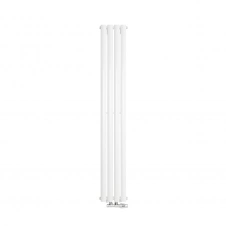 Grzejnik dekoracyjny Ultimate pojedynczy 160x24cm biały z zaworem zespolonym Twins chrom prawym