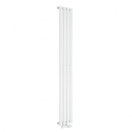 Grzejnik dekoracyjny Ultimate pojedynczy 160x24cm biały z białym zaworem zespolonym Multiflow w figurze kątowej prawej