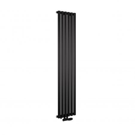 Grzejnik dekoracyjny Ultimate pojedynczy 160x36cm czarny matowy z zaworem zespolonym Multiflow prawym czarnym