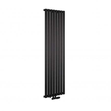 Grzejnik dekoracyjny Ultimate pojedynczy 160x48cm czarny matowy z zaworem zespolonym Multiflow prawym czarnym