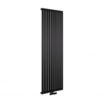 Grzejnik dekoracyjny Ultimate pojedynczy 180x60cm czarny matowy z zaworem zespolonym Multiflow  figura kątowa prawa, kolor czarny mat