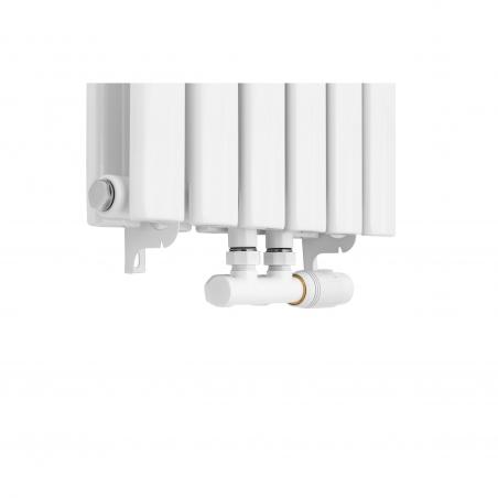 Zawór termostatyczny zespolony Multiflow w figurze prawej, kolor biały.