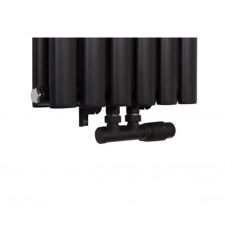 Zawór termostatyczny zespolony Multiflow w figurze prawej, kolor czarny matowy.