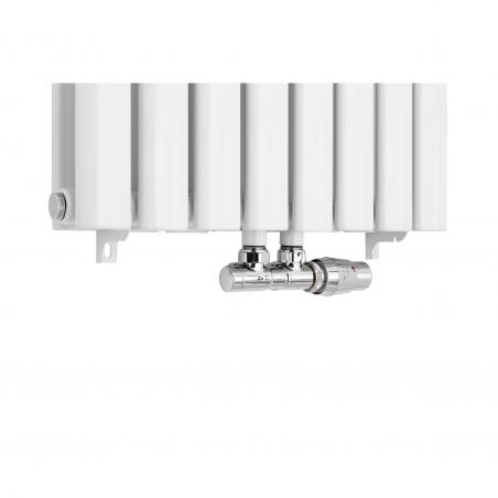 Zawór termostatyczny zespolony Multiflow, figura kątowa prawa w kolorze białym.
