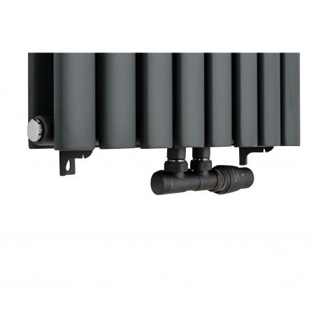 Zawór termostatyczny zespolony Multiflow, figura kątowa prawa, kolor grafit.
