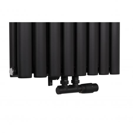 Zawór termostatyczny zespolony Multiflow, figura prawa w kolorze czarnego matu.