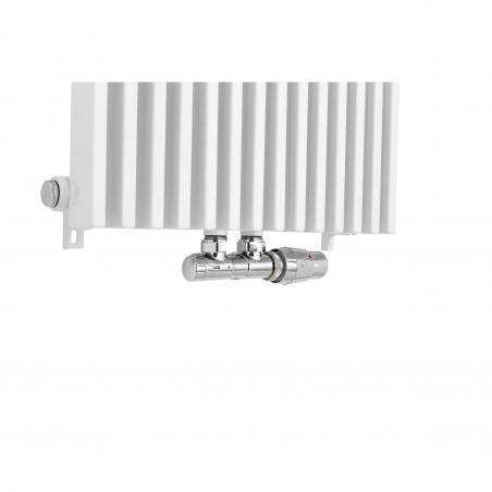 Zawór termostatyczny zespolony Twins w figurze kątowej prawej, w kolorze chrom.