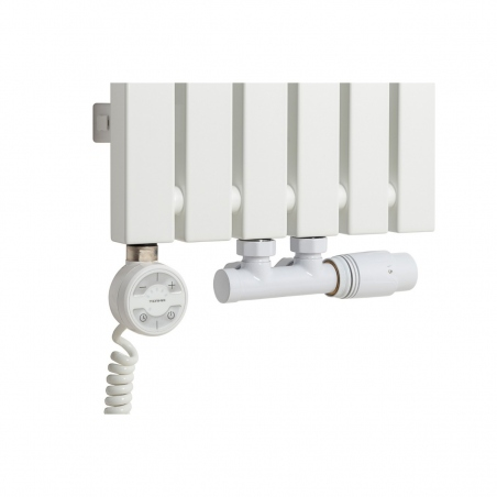 Grzałka MOA 600W w kolorze białym oraz zawór termostatyczny zespolony Multiflow biały w figurze kątowej prawej, dopasowane do grzejnika dekoracyjnego Advantage 180x29 białego.