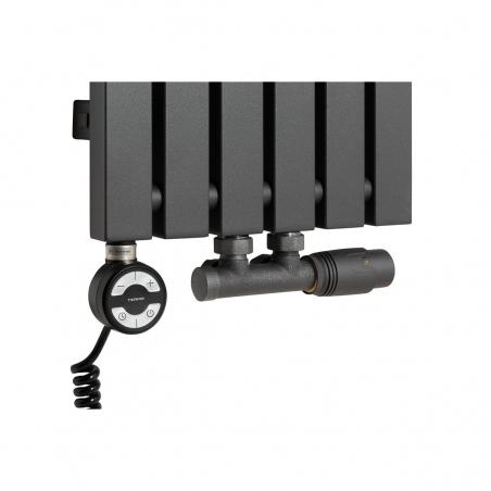 Grzałka MOA 600W w kolorze czarnym oraz zawór termostatyczny zespolony Multiflow grafit w figurze kątowej prawej, dopasowane do grzejnika dekoracyjnego Advantage 180x29 grafitowego.