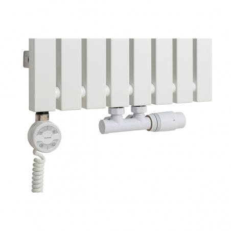 Grzałka MOA 800W w kolorze białym oraz zawór termostatyczny zespolony Multiflow biały w figurze kątowej prawej, dopasowane do grzejnika dekoracyjnego Advantage 180x39 białego.