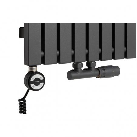 Grzałka MOA 800W w kolorze czarnym oraz zawór termostatyczny zespolony Multiflow grafit w figurze kątowej prawej, dopasowane do grzejnika dekoracyjnego Advantage 180x39 grafitowego.