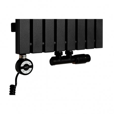 Grzałka MOA 800W w kolorze czarnym oraz zawór termostatyczny zespolony Multiflow czarny w figurze kątowej prawej, dopasowane do grzejnika dekoracyjnego Advantage 180x39 czarnego.