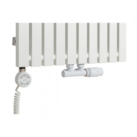 Grzałka MOA 1000W w kolorze białym oraz zawór termostatyczny zespolony Multiflow biały w figurze kątowej prawej, dopasowane do grzejnika dekoracyjnego Advantage 180x49 białego.