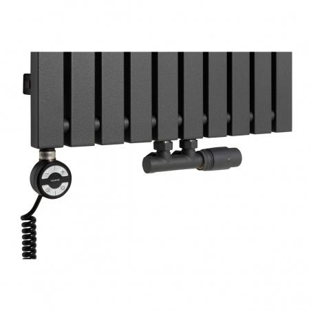 Grzałka MOA 1000W w kolorze czarnym oraz zawór termostatyczny zespolony Multiflow grafitowy w figurze kątowej prawej, dopasowane do grzejnika dekoracyjnego Advantage 180x49 grafitowego.