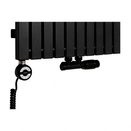 Grzałka MOA 1000W w kolorze czarnym oraz zawór termostatyczny zespolony Multiflow czarny w figurze kątowej prawej, dopasowane do grzejnika dekoracyjnego Advantage 180x49 czarnego.