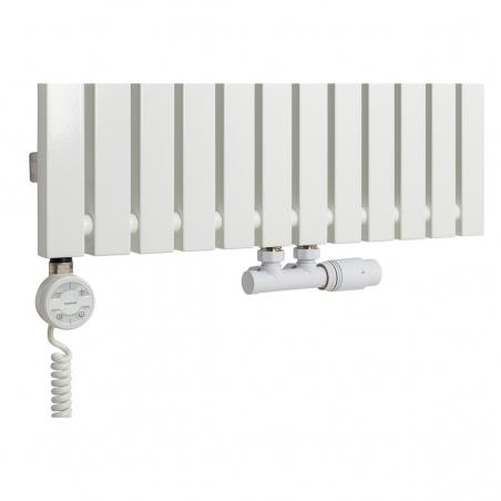 Grzałka MOA 1200W w kolorze białym oraz zawór termostatyczny zespolony Multiflow biały w figurze kątowej prawej, dopasowane do grzejnika dekoracyjnego Advantage 180x59 białego.