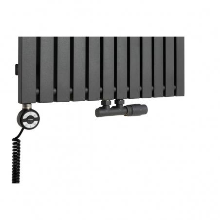 Grzałka MOA 1200W w kolorze czarnym oraz zawór termostatyczny zespolony Multiflow grafitowy w figurze kątowej prawej, dopasowane do grzejnika dekoracyjnego Advantage 180x59 grafitowego.