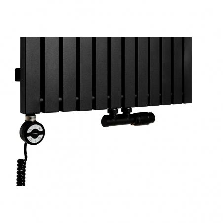 Grzałka MOA 1200W w kolorze czarnym oraz zawór termostatyczny zespolony Multiflow czarny w figurze kątowej prawej, dopasowane do grzejnika dekoracyjnego Advantage 180x59 czarnego.