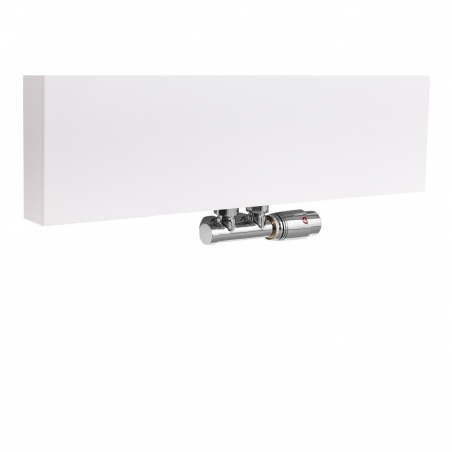 Zawór termostatyczny zespolony Multiflow chrom, figura kątowa prawa, zamontowany na grzejniku dekoracyjnym SP10 160x50 w kolorze białym.