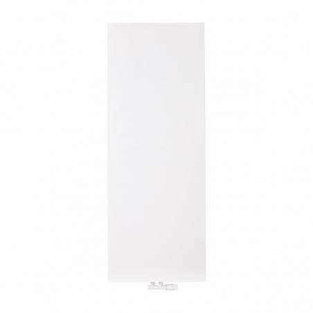 Grzejnik dekoracyjny pionowy SP10, o wymiarach 160x60 w kolorze białym, z dopasowanym kolorystycznie zaworem termostatycznym zespolonym Multiflow w figurze kątowej prawej.