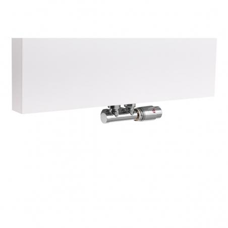 Zawór termostatyczny zespolony Multiflow chrom, figura kątowa prawa, zamontowany na grzejniku dekoracyjnym SP10 160x60 w kolorze białym.