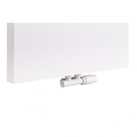 Zawór termostatyczny zespolony Multiflow biały, figura kątowa prawa, zamontowany na grzejniku dekoracyjnym SP10 160x60 w kolorze białym.
