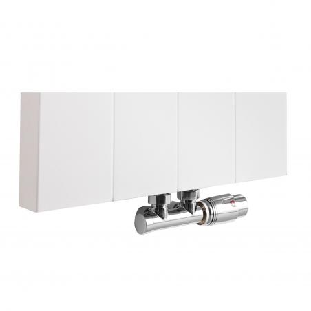 Zawór termostatyczny zespolony Multiflow chrom, w figurze kątowej prawej dopasowany do grzejnika dekoracyjnego SPL10, 160x40 białego.