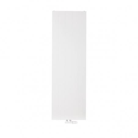 Grzejnik dekoracyjny pionowy SPL10, 160x50 biały, z dopasowanym kolorystycznie zaworem termostatycznym zespolonym Multiflow w figurze kątowej prawej.