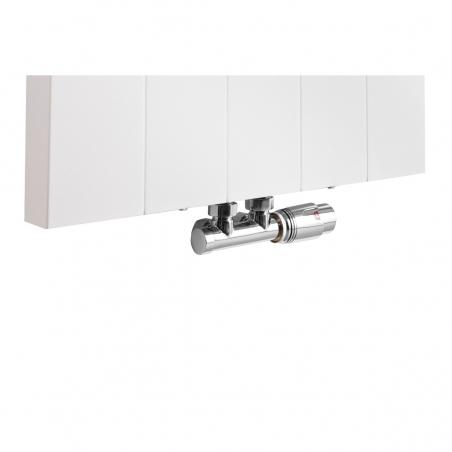 Zawór termostatyczny zespolony Multiflow chrom, w figurze kątowej prawej dopasowany do grzejnika dekoracyjnego SPL10, 160x50 białego.