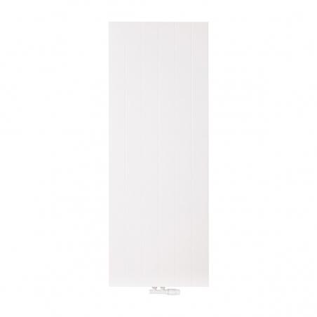 Grzejnik dekoracyjny pionowy SPL10, 160x60 biały, z dopasowanym kolorystycznie zaworem termostatycznym zespolonym Multiflow w figurze kątowej prawej.