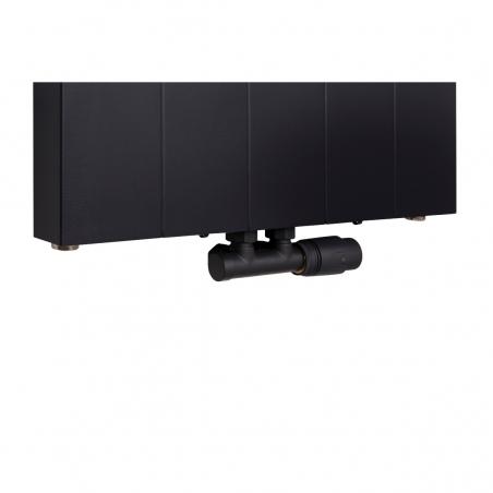 Zawór termostatyczny zespolony Multiflow czarny, w figurze kątowej prawej dopasowany do grzejnika dekoracyjnego SPL10, 160x50 czarnego.