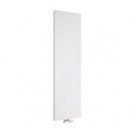 Grzejnik dekoracyjny pionowy SPL20, o wymiarach 160x50 w kolorze białej struktury, z dopasowanym kolorystycznie zaworem termostatycznym zespolonym Multiflow w figurze kątowej prawej.