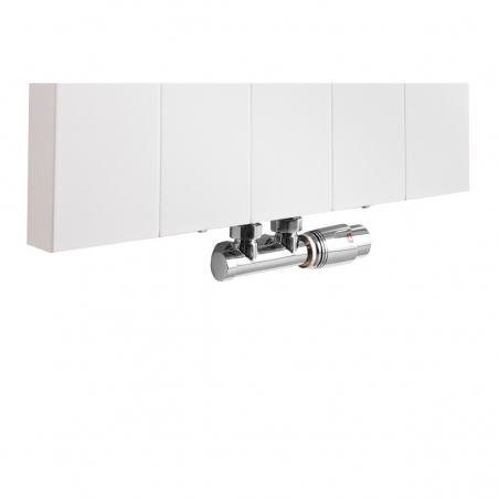 Zawór termostatyczny zespolony Multiflow chrom, figura kątowa prawa, podłączony do grzejnika dekoracyjnego SPL20 160x50 w kolorze białym.